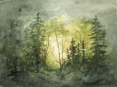 Watercolor Landscape Painting Archival Print Forest Paintings Of Landscapes