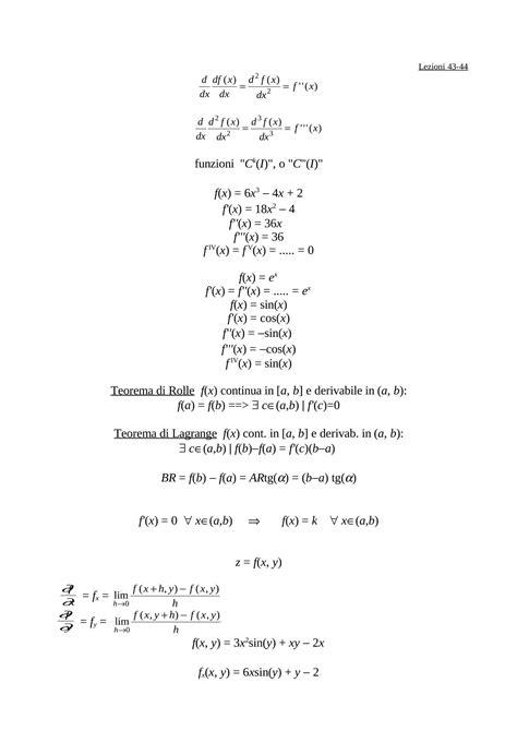 dispense matematica generale derivata seconda dispense