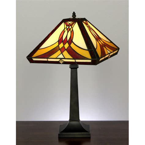 Swooping Pattern Mission Style Stained Glass Table Lamp