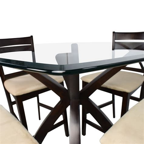 Counter Height Table And Chairs by 53 Counter Height Glass And Wood Table With Four