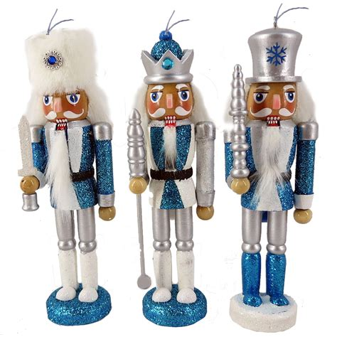 orn008 6 inch nutcracker ornaments set of 3 snow fantasy
