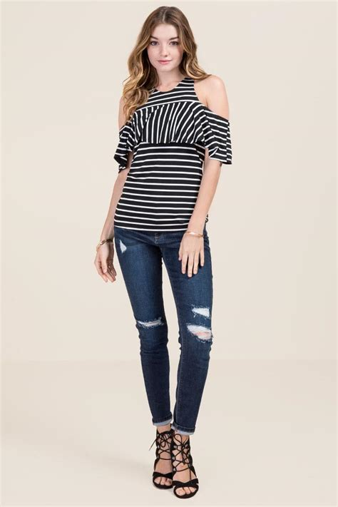 Shoulder Striped Knit Top jenelle cold shoulder striped knit top s