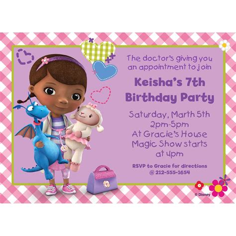 Doc Mcstuffins Personalized Invitation Birthday Custom Invitations Party Supplies Doc Invitation Template