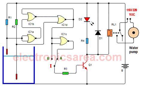 water tank level controller circuit diagram water level controller circuit using cd4001 electronics area