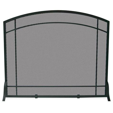 single panel fireplace screens uniflame black wrought iron single panel fireplace screen
