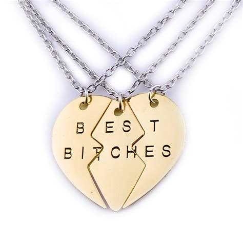Broken Best Necklace Kalung Pasangan Silver 1 3pcs set 2016 broken best bitches pendant necklace silver gold chain statement necklace