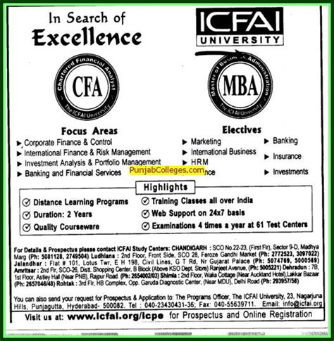 In Canada For Mba Finance From India by Institute Of Chartered Financial Analysts Of India Icfai