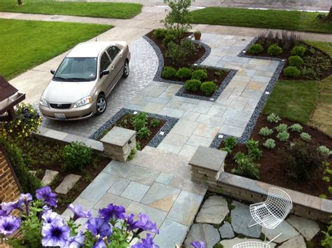 front house landscape design ideas front yard driveway and walkway landscaping house design with stone floor tiles and