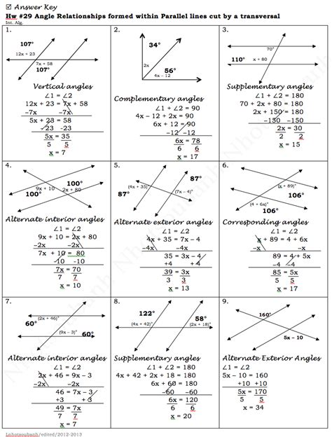 printable math worksheets angles in transversal answers angles and parallel lines worksheet answers worksheets for
