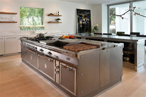 stainless steel island for kitchen stainless steel kitchen with island miami by officine gullo