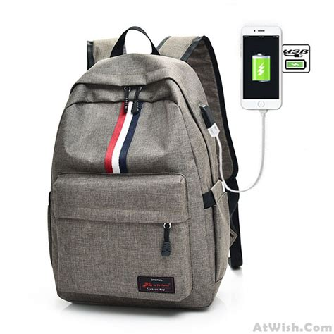 Canvas Travel Backpack White casual student bag canvas backpack white black stripe