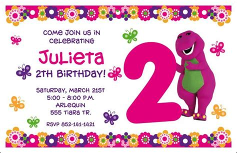 barney invitation template girly barney invite girly barney inspired