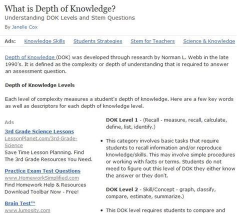 Dok Lesson Plan Template 17 best images about depth of knowledge on