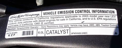 Ducati Emissions Sticker by Ford 2003 F 350 6 0l Turbo Diesel