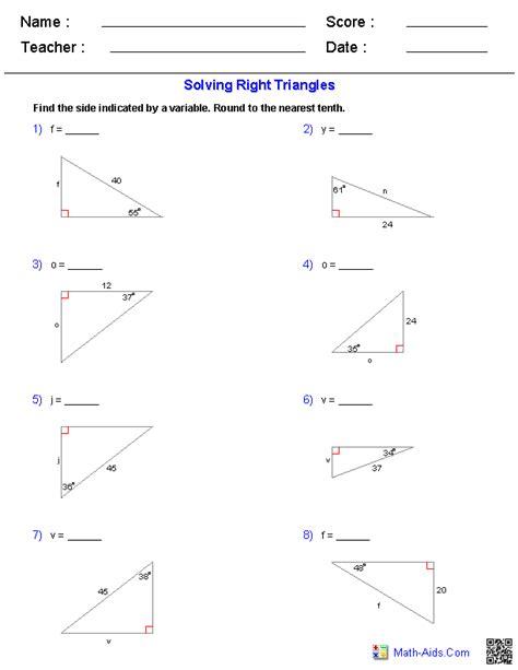 Solving Right Triangles Worksheet solving right triangles worksheets math aids
