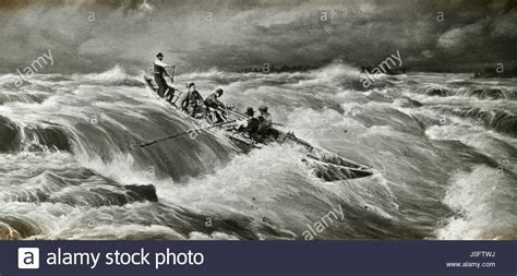 row boat en francais painting of 5 men on a row boat in a storm stock photo