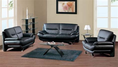 front room furniture sets black leather contemporary 7068 sofa w front metal legs