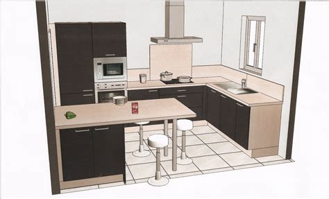 cuisine 駲uip馥 en u awesome plan amenagement cuisine 10m2 3 davaus plan de
