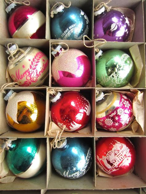 vintage box of shiny brite decorated glass ball christmas