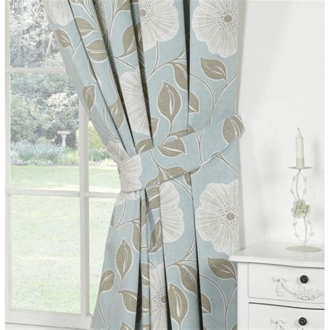 floral duck egg curtains urban living poppy duckegg floral pencil pleat readymade