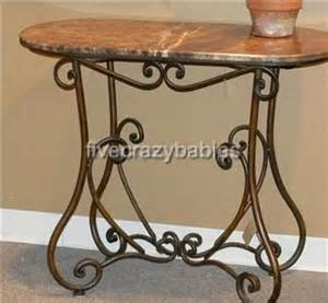 Metal Entry Table Scrolled Iron Console Table Marble Brown Entry Wrought Scrollwork Accent Ebay