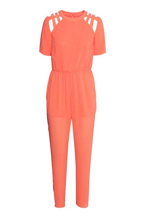 Hm Jumpsuit Ballo Fit L chiffon jumpsuit orange sale h m us