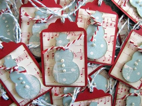 christmas polkadot musical snowman scalloped gift tags pk