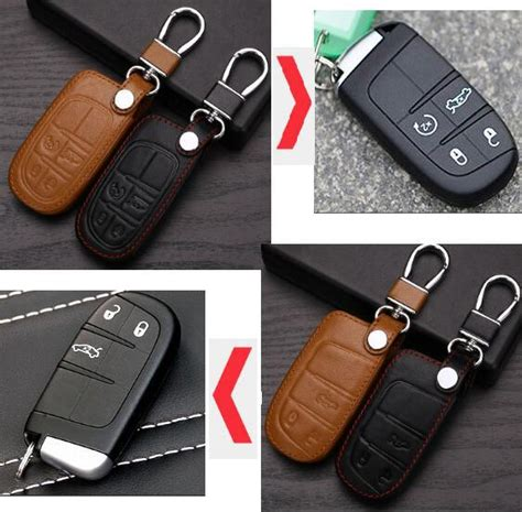 Jeep Key Cover Leather Car Key Cover For Dodge Jcuv Dart Journey Jeep