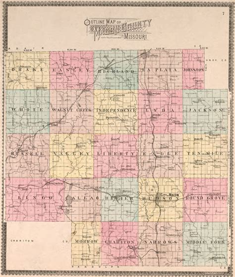 Macon County Records Macon County Missouri 1897 Historical Map Reprint Townships