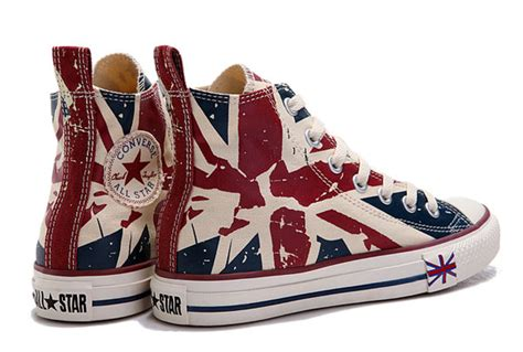 Jual Converse Uk Flag converse flag for olympic beige blue printed high tops canvas sneakers