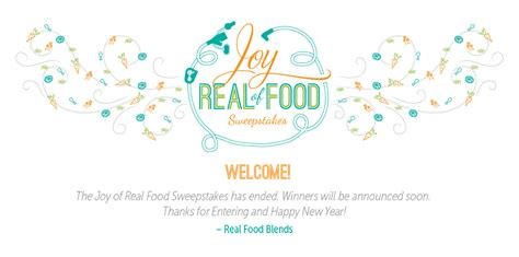 Real Sweepstakes To Enter - joy of real food sweepstakes enter to win today real food blends