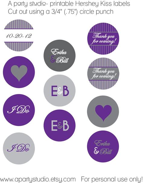 Wedding Favor Personalized Hershey Kiss Labels In Purple And Grey Wedding Pinterest Personalized Hershey Kisses Stickers Template