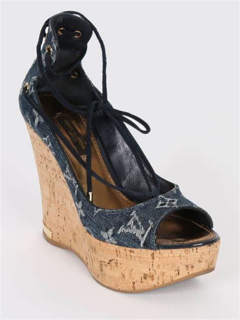 Sandal Wedges Ls03 36 louis vuitton denim blue wedge open sandals 36 luxury bags