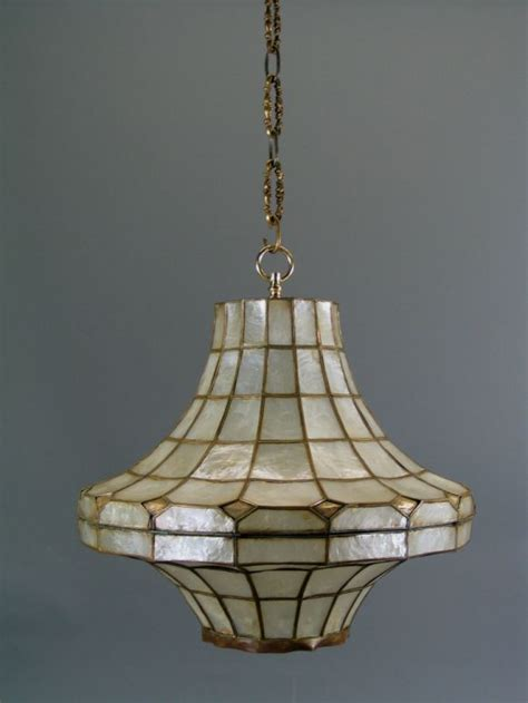 Large Capiz Shell Chandelier Large Mid Century Capiz Shell Pendant S 2 Available For Sale At 1stdibs