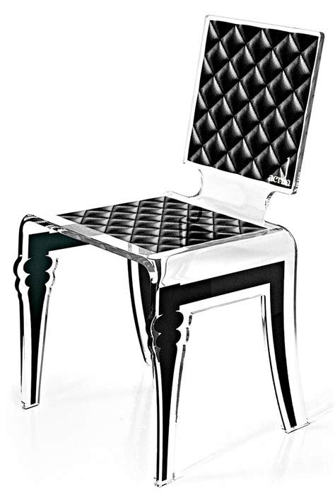 Chaise Acrylique chaise acrylique verre diam motif noir acrila