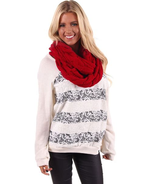 lime lush boutique red knit infinity scarf  http