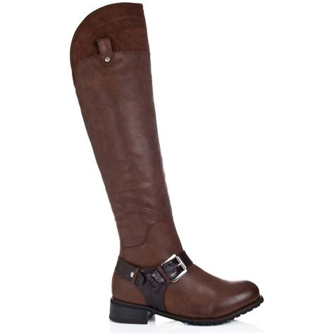 brown leather boots for buy sole flat knee boots brown leather style