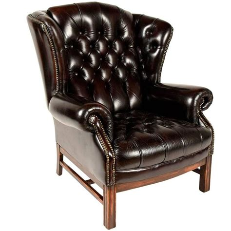 leather wing back chair sinlgle vintage tufted leather wingback chair at 1stdibs