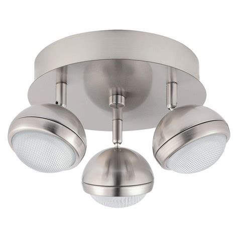 Ceiling Rail Lights by Eglo Lombes 1 11 In 3 Light Matte Nickel Led Ceiling