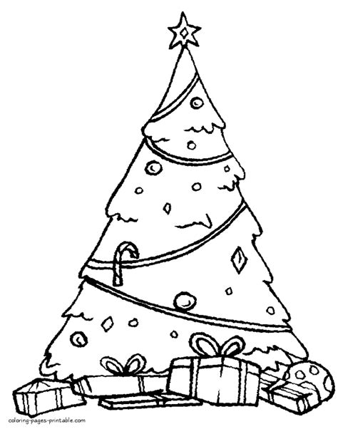 printable christmas tree a3 christmas presents under tree coloring pages