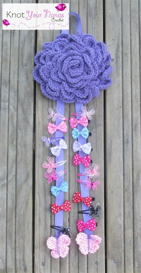 yarn keeper pattern large flower bow holder crochet patterns for accessories