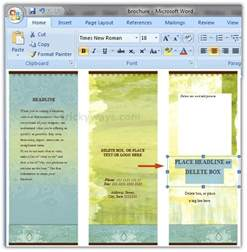 Word Templates For Brochures by Create Brochure In Word 2007 Or 2010 Make Brochure