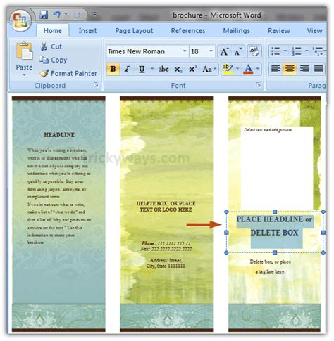 brochure layout in word create brochure in word 2007 or 2010 make brochure
