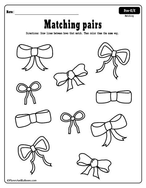 matching worksheets for preschool and kindergarten free