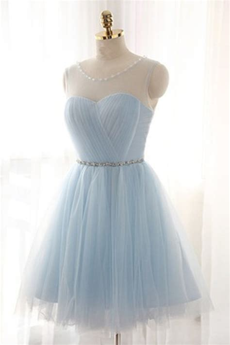 Blue Sky Quinze Dress light blue tulle see through neck lace up