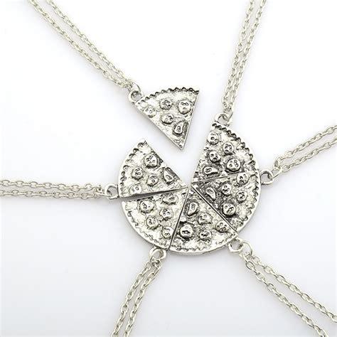 1 set of 6 7 pizza slice friendship necklace best friends