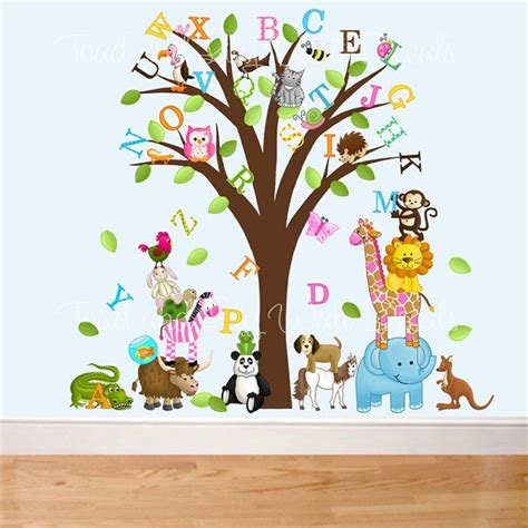 Items Similar To Fabric Wall Decals Animal Alphabet Tree Letter Wall Decals For Nursery