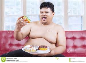 apple macbook pro black friday cheerful fat man eating donuts 2 stock photo image 44757481