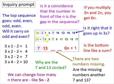 maths number pattern questions intersecting sequences inquiry inquiry maths