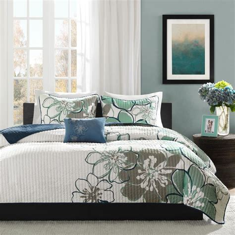 grey coverlet set modern chic grey blue aqua white floral flower quilt set